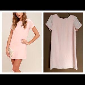 LULU'S Shift and Shout Blush Pink Shift Dress